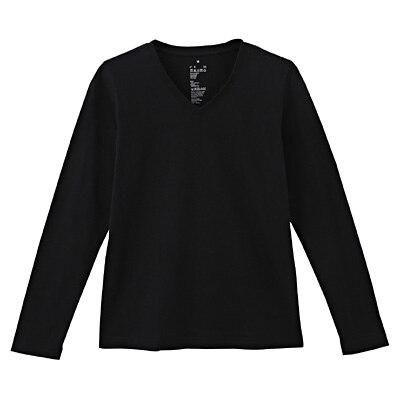 オーガニックコットンVネック長袖Tシャツ 婦人XL・黒