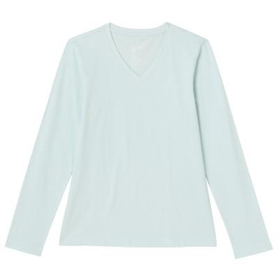 オーガニックコットンVネック長袖Tシャツ 婦人XL・ライトブルー