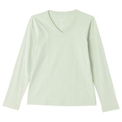 オーガニックコットンVネック長袖Tシャツ 婦人XL・ライトグリーン