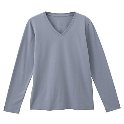 オーガニックコットンVネック長袖Tシャツ 婦人M・サックスブルー