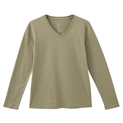 オーガニックコットンVネック長袖Tシャツ 婦人M・カーキ