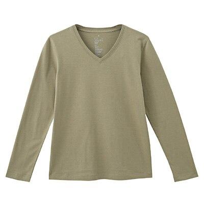 オーガニックコットンVネック長袖Tシャツ 婦人XL・カーキ