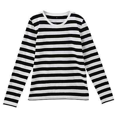 オーガニックコットンクルーネック長袖Tシャツ(ボーダー) 婦人XL・白×黒