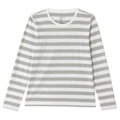 オーガニックコットンクルーネック長袖Tシャツ(ボーダー) 婦人M・白×ライトグレー