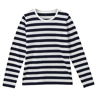 オーガニックコットンクルーネック長袖Tシャツ(ボーダー) 婦人S・白×ダークネイビー