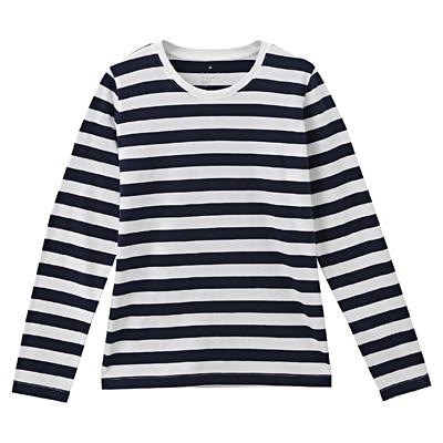 オーガニックコットンクルーネック長袖Tシャツ(ボーダー) 婦人M・白×ダークネイビー