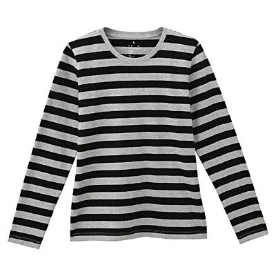 オーガニックコットンクルーネック長袖Tシャツ(ボーダー) 婦人M・ライトグレー×黒