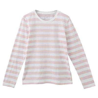 オーガニックコットンクルーネック長袖Tシャツ(ボーダー) 婦人XL・白×ライトピンク
