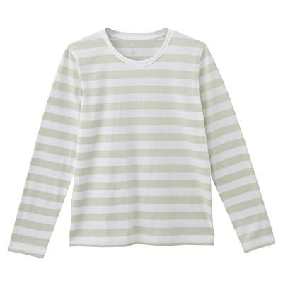 オーガニックコットンクルーネック長袖Tシャツ(ボーダー) 婦人S・白×ライトグリーン