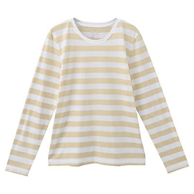 オーガニックコットンクルーネック長袖Tシャツ(ボーダー) 婦人S・白×ライトイエロー