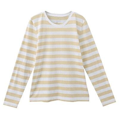 オーガニックコットンクルーネック長袖Tシャツ(ボーダー) 婦人XL・白×ライトイエロー