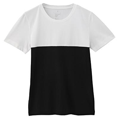 オーガニックコットンクルーネック半袖Tシャツ(モノトーン) 婦人S・白×黒(ブロッキング)