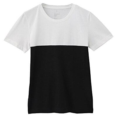 オーガニックコットンクルーネック半袖Tシャツ(モノトーン) 婦人XL・白×黒(ブロッキング)