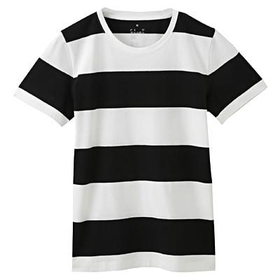 オーガニックコットンクルーネック半袖Tシャツ(モノトーン) 婦人XS・白×黒(太)