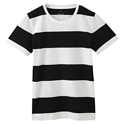 オーガニックコットンクルーネック半袖Tシャツ(モノトーン) 婦人M・白×黒(太)