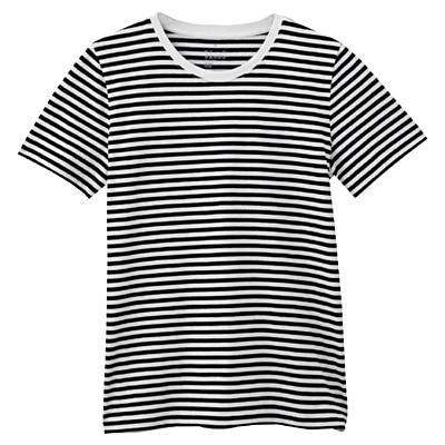 オーガニックコットンクルーネック半袖Tシャツ(モノトーン) 婦人XS・白×黒(細)