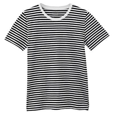 オーガニックコットンクルーネック半袖Tシャツ(モノトーン) 婦人S・白×黒(細)