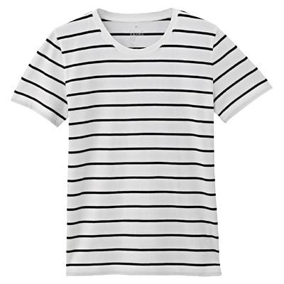 オーガニックコットンクルーネック半袖Tシャツ(モノトーン) 婦人XS・白×黒(ペンシル)