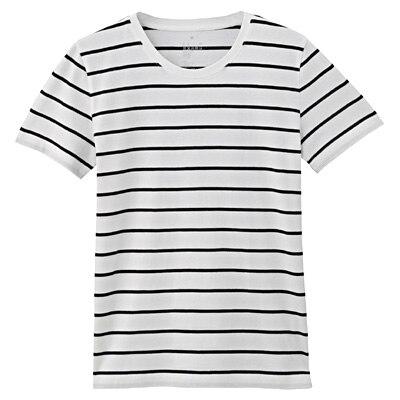 オーガニックコットンクルーネック半袖Tシャツ(モノトーン) 婦人S・白×黒(ペンシル)
