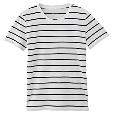 オーガニックコットンクルーネック半袖Tシャツ(モノトーン) 婦人M・白×黒(ペンシル)