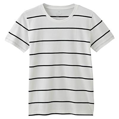 オーガニックコットンクルーネック半袖Tシャツ(モノトーン) 婦人XS・白×黒(広めペンシル)