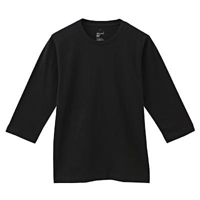 オーガニックコットン七分袖Tシャツ 紳士S・黒