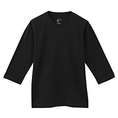 オーガニックコットン七分袖Tシャツ 紳士M・黒
