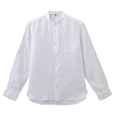 フレンチリネン洗いざらしスタンドカラーシャツ 紳士S・白