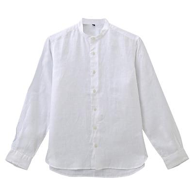 フレンチリネン洗いざらしスタンドカラーシャツ 紳士L・白