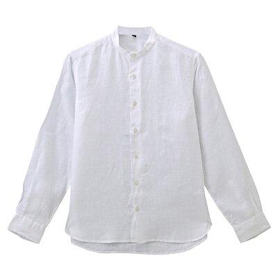 フレンチリネン洗いざらしスタンドカラーシャツ 紳士XL・白