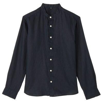 フレンチリネン洗いざらしスタンドカラーシャツ 紳士S・ネイビー