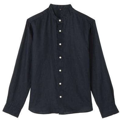フレンチリネン洗いざらしスタンドカラーシャツ 紳士L・ネイビー