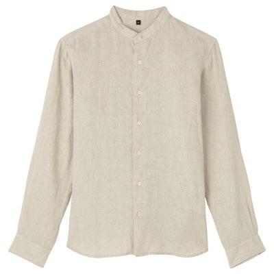 フレンチリネン洗いざらしスタンドカラーシャツ 紳士L・生成