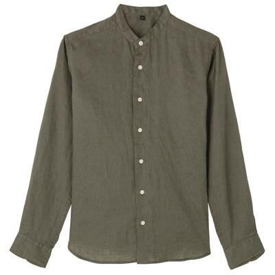 フレンチリネン洗いざらしスタンドカラーシャツ 紳士L・カーキグリーン