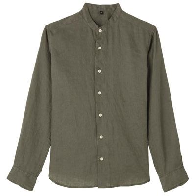 フレンチリネン洗いざらしスタンドカラーシャツ 紳士XXL・カーキグリーン