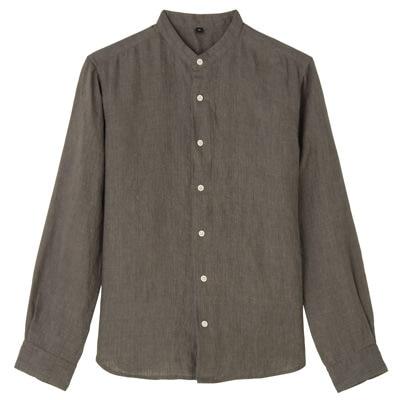 フレンチリネン洗いざらしスタンドカラーシャツ 紳士S・ブラウン