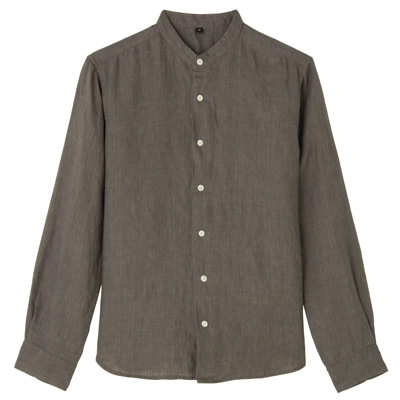 フレンチリネン洗いざらしスタンドカラーシャツ 紳士L・ブラウン
