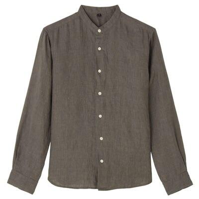 フレンチリネン洗いざらしスタンドカラーシャツ 紳士XL・ブラウン