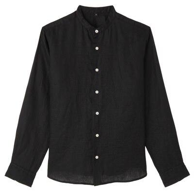 フレンチリネン洗いざらしスタンドカラーシャツ 紳士XS・黒