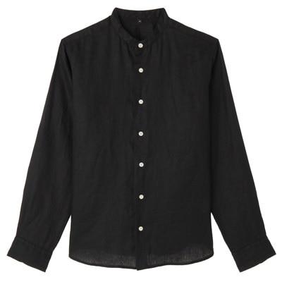 フレンチリネン洗いざらしスタンドカラーシャツ 紳士L・黒