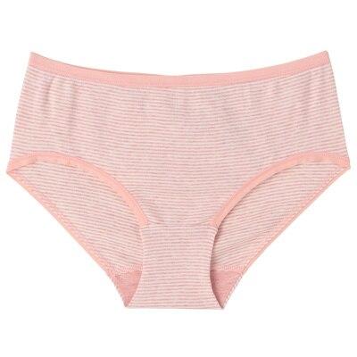 オーガニックコットンフライスヒップハンガーショーツ 脇に縫い目のない(えらべる) 婦人XL・ピンク×ボーダー