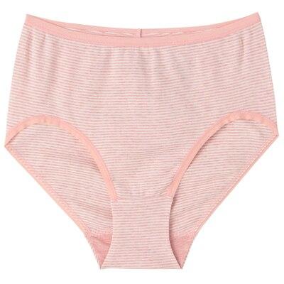 オーガニックコットンフライスハイライズショーツ 脇に縫い目のない(えらべる) 婦人XL・ピンク×ボーダー