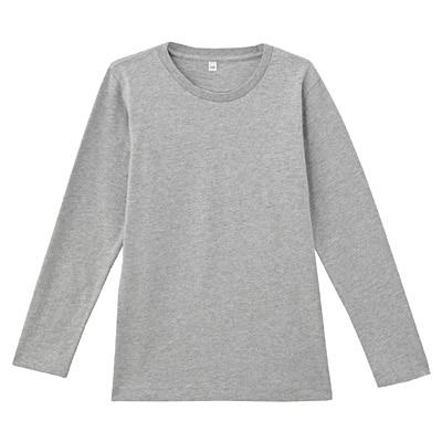 オーガニックコットンクルーネック長袖Tシャツ ジュニア140・ライトシルバーグレー