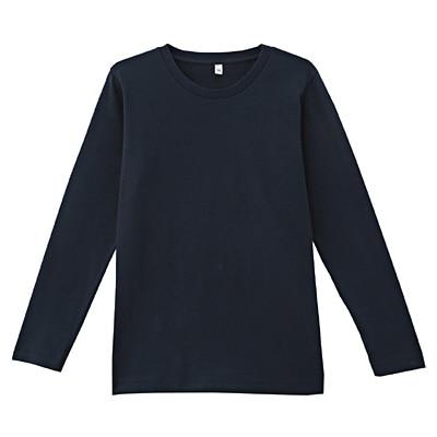 オーガニックコットンクルーネック長袖Tシャツ ジュニア140・ダークネイビー