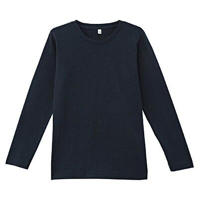 オーガニックコットンクルーネック長袖Tシャツ ジュニア150・ダークネイビー