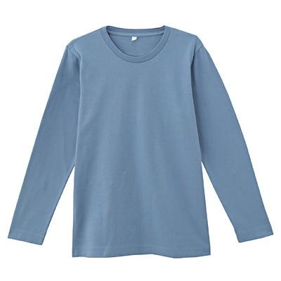 オーガニックコットンクルーネック長袖Tシャツ ジュニア140・ライトブルー