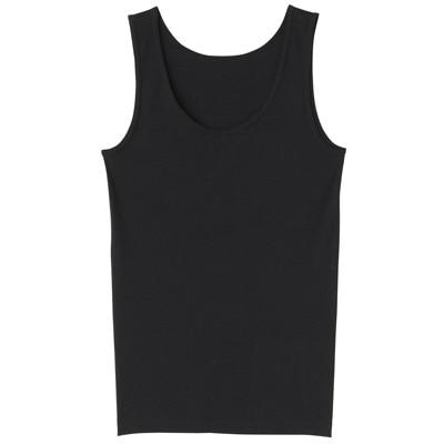 オーガニックコットンフライスタンクトップ  脇に縫い目のないインナー 婦人XL・黒