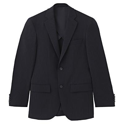 【店舗限定】しわになりにくいストライプ二ツ釦ジャケット 紳士L・ネイビー
