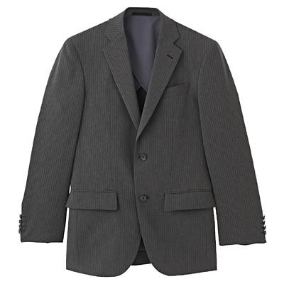 【店舗限定】しわになりにくいストライプ二ツ釦ジャケット 紳士L・チャコールグレー