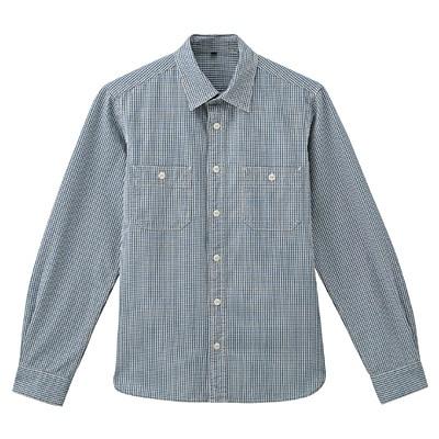 オーガニックコットンインディゴダブルポケットシャツ 紳士S・スモーキーブルー×柄